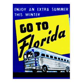 Vintage Bus Coach Matchbook Go To Florida Postcard