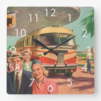 Vintage Bus Depot with Passengers on Vacation Clocks