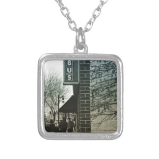 Vintage Bus Stop Silver Plated Necklace