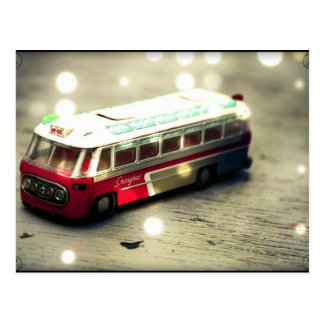 Vintage bus toy postcard