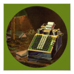 """Vintage Business, Accountant Accounting Machine 5.25"""" Square Invitation Card"""