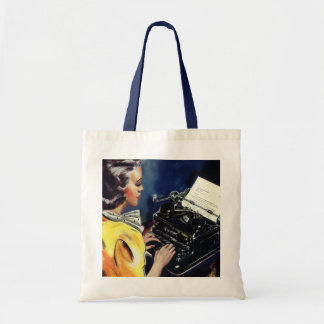 Vintage Business, Admin Secretary Typing a Letter Budget Tote Bag