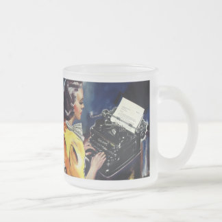 Vintage Business, Admin Secretary Typing a Letter Frosted Glass Mug