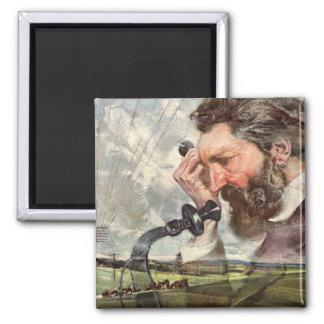 Vintage Business, Alexander Graham Bell Telephone Square Magnet