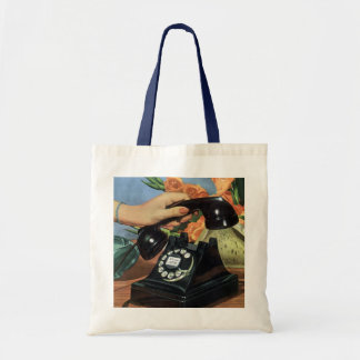 Vintage Business, Antique Phone with Rotary Dial Tote Bag