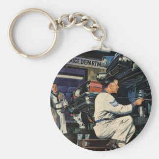 Vintage Business Auto Mechanic, Car Repair Service Basic Round Button Keychain