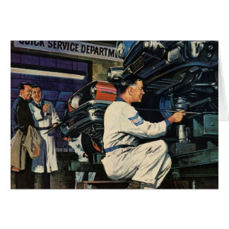 Vintage Business Auto Mechanic, Car Repair Service Card
