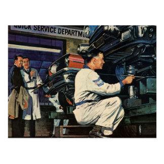 Vintage Business Auto Mechanic, Car Repair Service Postcard