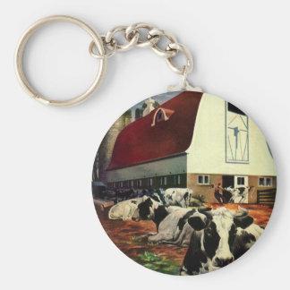 Vintage Business, Dairy Farm w Holstein Milk Cows Basic Round Button Keychain
