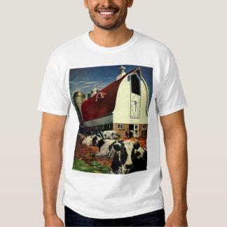 Vintage Business, Dairy Farm w Holstein Milk Cows Tee Shirts