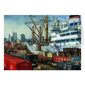 Vintage Business, Docked Cargo Ship Transportation Card