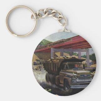Vintage Business Dump Truck at a Construction Site Basic Round Button Keychain