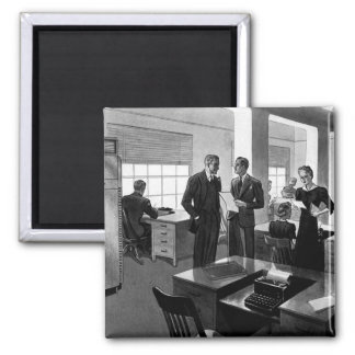 Vintage Business, Executives in an Office Square Magnet