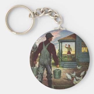 Vintage Business, Farmer Working on the Farm Basic Round Button Keychain
