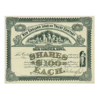 Vintage Business Finance Capital Stock Certificate Perfect Poster