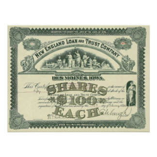 Vintage Business Finance Capital Stock Certificate Poster