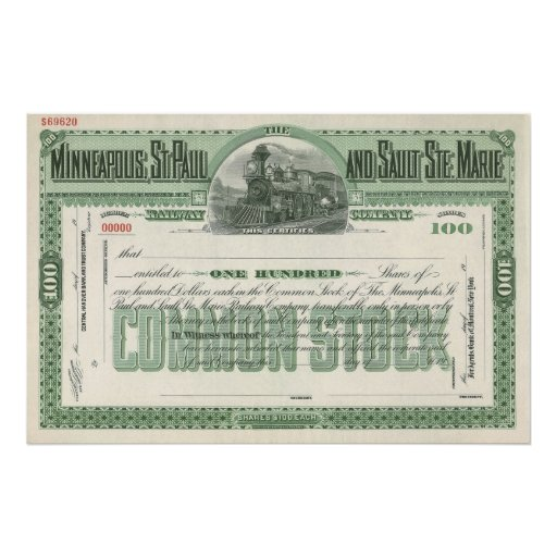 Vintage Business Finance Common Stock Certificate Poster