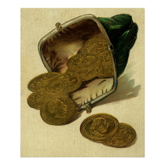 Vintage Business Finance Money, Gold Coin in Purse Poster