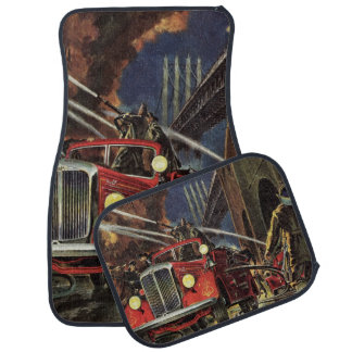 Vintage Business, Fire Trucks Firemen Firefighters Car Mat