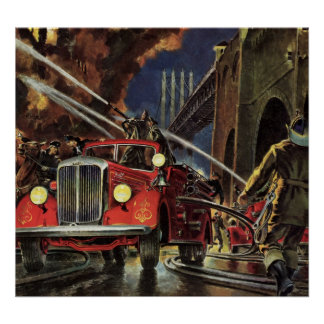 Vintage Business, Fire Trucks Firemen Firefighters Poster