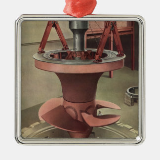 Vintage Business, Generator with Giant Turbine Silver-Colored Square Ornament