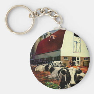 Vintage Business, Holstein Milk Cows on Dairy Farm Basic Round Button Keychain