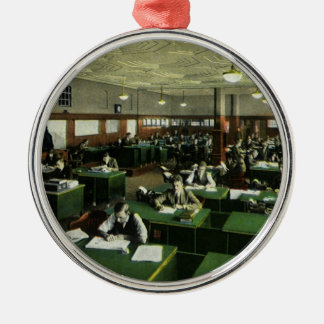 Vintage Business, Journalists in Newspaper Office Silver-Colored Round Ornament