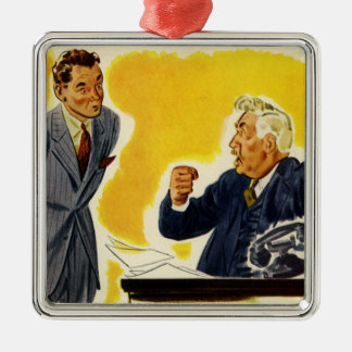 Vintage Business, Mad CEO Executive Boss Employee Silver-Colored Square Ornament