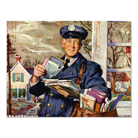 "Vintage Business, Mailman Delivering Mail Letters 4.25"" X 5.5"" Invitation Card"