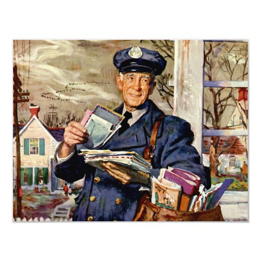 "Vintage Business, Mailman Mail Delivering Letters 4.25"" X 5.5"" Invitation Card"
