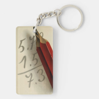 Vintage Business, Math Equation with Red Pencil Rectangular Acrylic Keychain