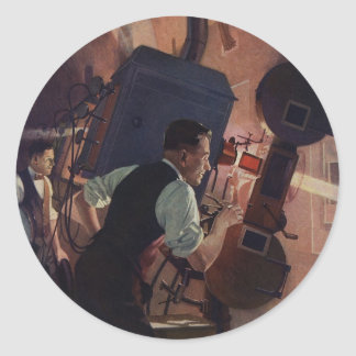 Vintage Business, Movie Theater Projectionist Classic Round Sticker