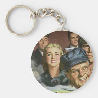 Vintage Business Occupations, Patriotic Patriotism Basic Round Button Keychain