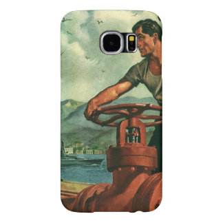 Vintage Business, Oil Tanker Ship with Dock Worker Samsung Galaxy S6 Cases