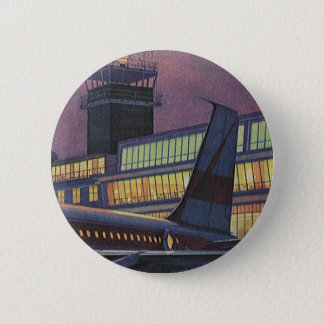Vintage Business Passengers on Airplane at Airport 2 Inch Round Button