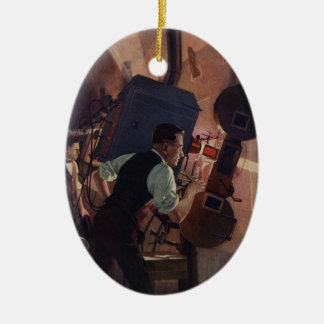 Vintage Business Projectionist in a Movie Theater Christmas Ornament