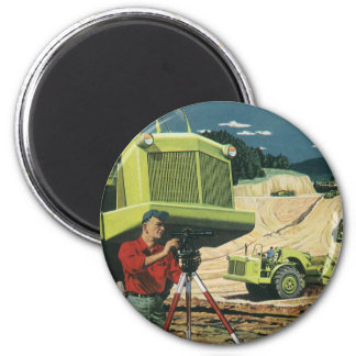 Vintage Business, Surveyor on a Construction Site Magnet