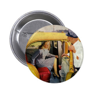 Vintage Business, Taxi Cab Driver Woman Passenger 2 Inch Round Button