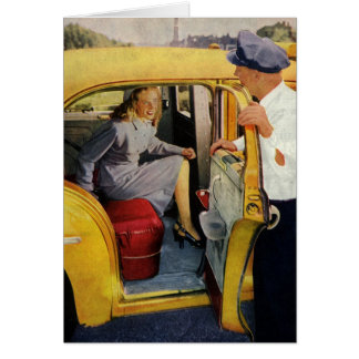 Vintage Business, Taxi Cab Driver Woman Passenger Card