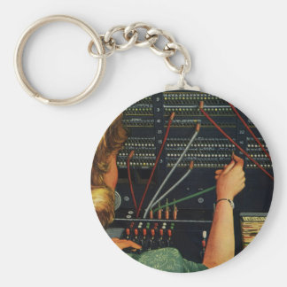 Vintage Business, Telephone Switchboard Operator Basic Round Button Keychain