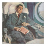 Vintage Business Traveller Reading on the Airplane
