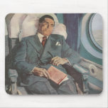 Vintage Business Traveller Reading on the Airplane Mouse Pad