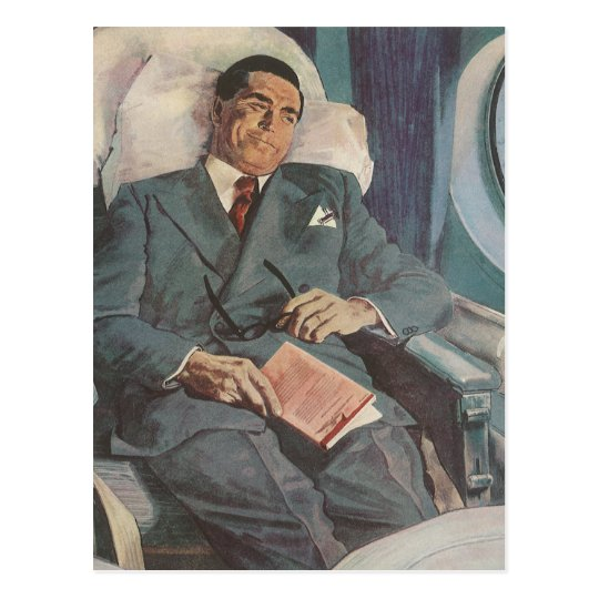 Vintage Business Traveller Reading on the Airplane Postcard