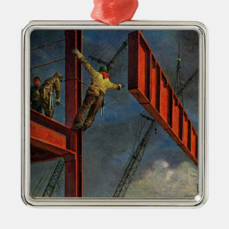 Vintage Business, Workers on Steel Construction Silver-Colored Square Ornament