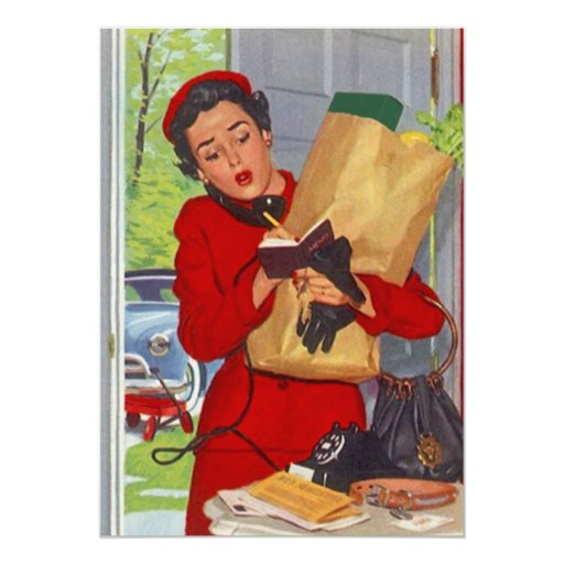 "Vintage Busy Suburban Lady Burbs Blank Invitation 5"" X 7"" Invitation Card"