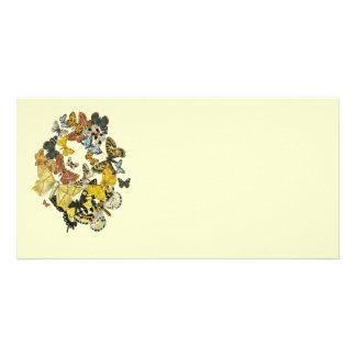 Vintage Butterflies Decoupage Customized Photo Card
