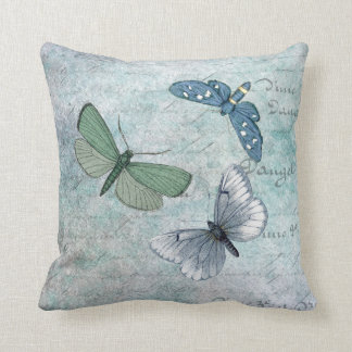 Vintage Butterflies French Grunge Throw Pillow