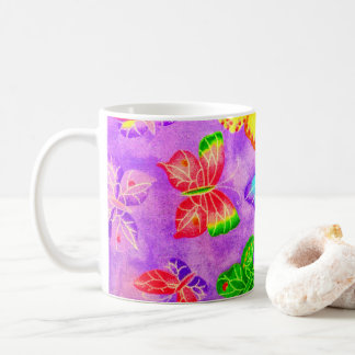 Vintage Butterflies on Fabric Background Coffee Mug