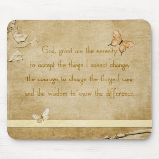 Vintage Butterflies Serenity Prayer Mouse Pad