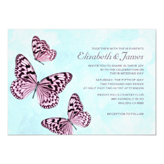 Vintage Butterflies Wedding Invitations Personalized Announcements